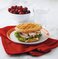 A fun twist on lunch — waffle cheese and turkey sandwich!