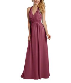 DescriptionAlfred Angelo Style 7333LFull length bridesmaid dressDraped halter v neckline, back bow detailingNatural waist, shirred a-line skirtChiffon with satin waistband