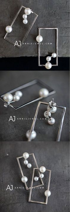 SILVER EARRINGS UNIQUE SQUARE RECTANGLE PEARL LONG DANGLE DROP GIFT JEWELRY