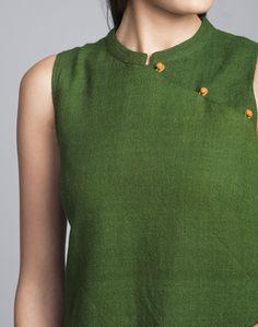 Wool Plain Woven Embroidered Border Mini Kurta-Green: Buy Fabindia Wool Plain…