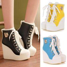 Nuevas mujeres atan para arriba las zapatillas de deporte High-TOP zapatos / los colores del caramelo de Ladys Botines de cuña