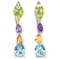 Genuine Multi Color Gemstone Earrings