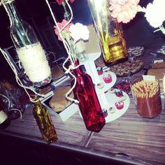 Candy bar. bullfighting. boda. wedding. taurina. flamenco. Candy Station. mesa de postres. mesa de dulces. backdrop. bottles. botellas
