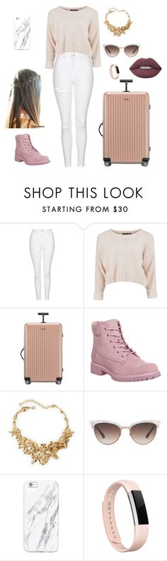 """""""On the way to airport super cute outfit?"""" by fashion1246 ❤ liked on Polyvore featuring Topshop, Rimowa, Timberland, Oscar de la Renta, Gucci, Fitbit and Lime Crime"""