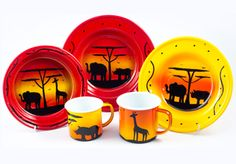 African animal silhouette tableware