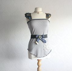 Women's Gray Top Upcycled Clothes Recycled Necktie Belt Navy Blue Tank Shirt Boho Clothing Eco Friendly Small 'DELLA'. $55.00, via Etsy.