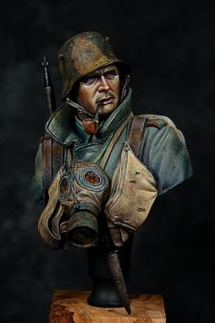WWI German Grenadier by Ernest · Putty&Paint Anglo Saxon History, Vietnam, Military Diorama, Figure Model, Great Words, Character Design Inspiration, Wwi, Figure Painting, Caricature