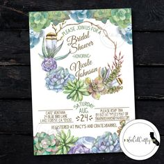 Boho Bridal Shower Invitation Succulent Party by socalcrafty. Printed or Printable. $16+