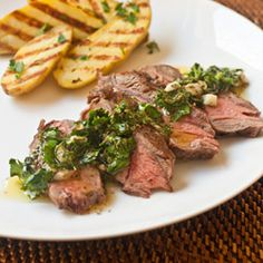 (Panini-Grilled Flat Iron Steak with Chimichurri and Fingerling Potatoes)