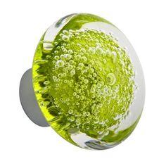 Bouton de porte verre soufflé Microbulles Disque vert anis Collection Poignée Verre soufflé