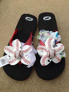 I sort of like the red ones, too!  Red Baseball Bling Flip Flops by HeavensCreationsEP on Etsy, $25.00