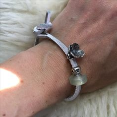 Trollbeads white leather bracelet, green jade, heart pint stopper, lovers faith bead