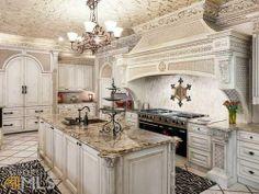 Mediterranean Kitchen with Flush & Kitchen island Zillow Digs Elegant Kitchens, Luxury Kitchens, Beautiful Kitchens, Home Kitchens, Beautiful Homes, Grand Kitchen, Mediterranean Kitchen, French Country Kitchens, Luxury Kitchen Design