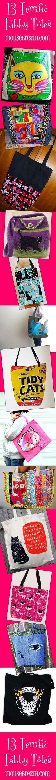 cute cat totes.... I WANT! (via Mousebreath Magazine) #cats #fashion