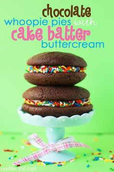 Chocolate Whoopie Pies with Cake Batter Buttercream! WHAT!??