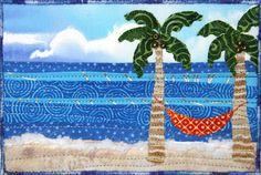 Beach mug rug Ocean Quilt, Beach Quilt, Fabric Postcards, Fabric Cards, Small Quilts, Mini Quilts, Mug Rug Patterns, Quilt Patterns, Tropical Quilts