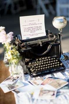vintage wedding reception. #typewriter