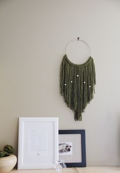"""Emerald Green Macrame Wall Hanging Tapestry on 10"""" Brass Hoop w/ Wood Beads by Astral Riles"""
