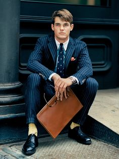 stripes suiting by Polo Ralph Lauren Polo Suits, Mens Suits, Men's Polo, Der Gentleman, Gentleman Style, Preppy Men, Pinstripe Suit, Sharp Dressed Man, How To Pose