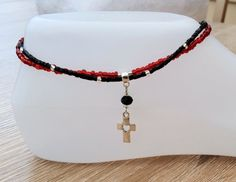Silver Cross Anklet Ankle Chain Red Black by LadySkullingtons