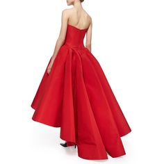 Zac Posen Strapless Cat-Ear-Bodice High-Low Gown (89.420 ARS) ❤ liked on Polyvore featuring dresses, gowns, red strapless evening gown, red ball gown, hi low dress, pleated dress and high low dresses