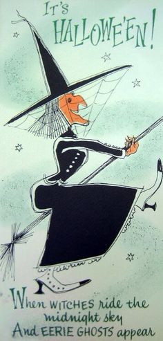 Vintage holiday card - Halloween witch on her broom. Diy Halloween, Photo Halloween, Vintage Halloween Cards, Halloween Pictures, Vintage Holiday, Holidays Halloween, Happy Halloween, Halloween Decorations, Halloween Clothes