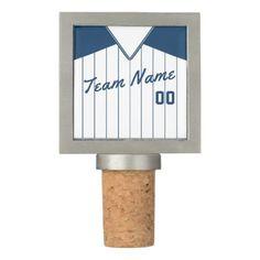 Baseball Softball Jersey Customizable Wine Stopper - diy cyo customize create your own personalize