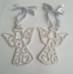 Filigree wooden angels christmas tree ornament by MKedraDecoupage, $8.00