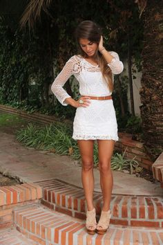 white crochet dress w/ turquoise ring