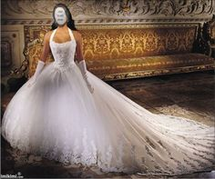 jhbjhbhjlWhite princess style wedding dress with chapel train. Click to add your face to the photo and see how you'd look with this style and color.