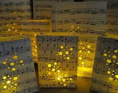 Star Wedding, Package, 60 Luminary Bags, Wedding Lanterns, Music Centerpieces, Music Note Confetti, Star Lanterns, Star Theme, Music Theme