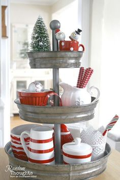 Galvanized centerpiece full of Christmas dishes! So simple and so festive!