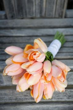 Get inspired: Peach tulip #wedding bouquet. Love the soft hues!