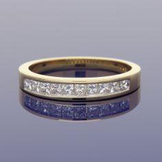 18ct Princess Cut Diamond Eternity Ring £995.00 Wedding Bands, Our Wedding, Eternity Ring Diamond, Gold Art, Princess Cut Diamonds, Metal, Rings, Style, Gold