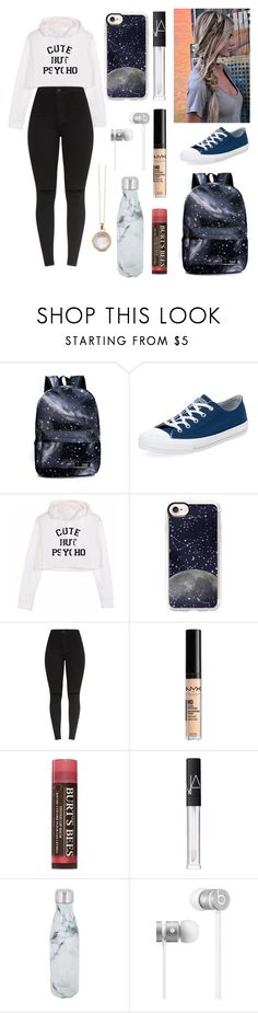 """Spaced Out"" by julie-clove ❤ liked on Polyvore featuring Converse, Casetify, NYX, Burt's Bees, NARS Cosmetics, S'well, Beats by Dr. Dre and Spartina 449"