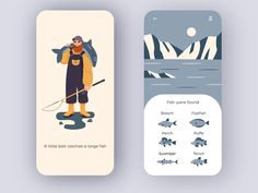 fishing app designed by Chಠidಠ . Ux Design, Best Ui Design, Game Design, Interface Design, User Interface, App Design Inspiration, Mobile App Design, Screen Design, Interactive Design