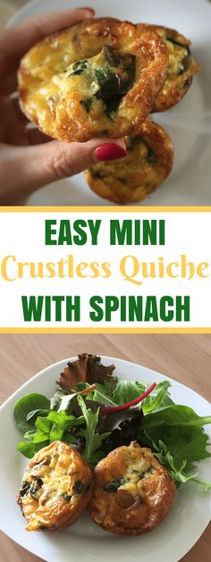 Easy Crustless Spinach Mini Quiche Recipe Easy Mini Crustless Quiche Recipe With Cheese And Spinach Healthy Recipes, Vegan Breakfast Recipes, Brunch Recipes, Vegetarian Recipes, Cooking Recipes, Easy Spinach Recipes, Crockpot Recipes, Recipes Dinner, Healthy Foods
