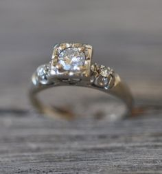 14K white gold antique diamond ring date 1920's by Pearlwearbeads