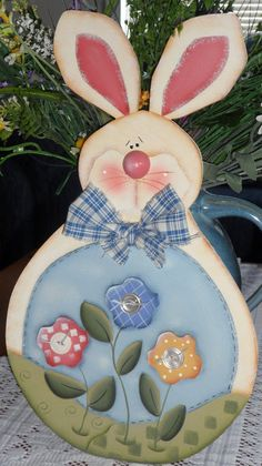 Bunny with 3 blooming flowers by Countrypainting