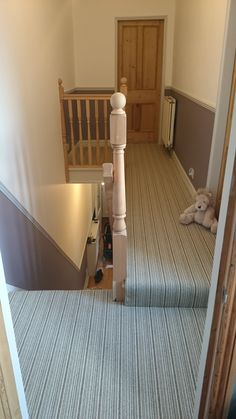 Crucial Trading Mississippi in Jade/Cream stripe, looking great on the landing of a very happy customer!  #landing #stripes #carpet #crucialtrading #mississippi #styleflooring #york