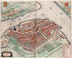 Plattegrond van Dordrecht in 1649, uitgegeven door Joan Blaeu in 1649