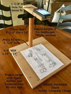 Iphone Document Stand DIY from scraps. Very sturdy, adjustable, compact for storage, fast to build, low or no cost. Diy Photo, Diy Tripod, Diy Phone Stand, Wood Projects, Projects To Try, Document Camera, Mobile Stand, Foto Transfer, Closet Rod