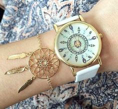 white feather watch, Stylish watches with bracelets http://www.justtrendygirls.com/stylish-watches-with-bracelets/