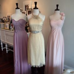 Dresses your bridesmaids will want to wear! Pretty pastels by After Six, Amsale and Bill Levkoff #bridesmaids #weddinginspiration #Amsale #Aftersix #billlevkoff