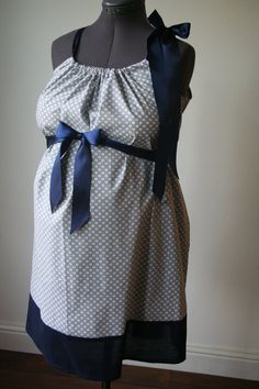 Maternity Hospital Gown: Gray with White Polka Dots. Navy Trims (Labor and Delivery Hospital Gown). $56.00, via Etsy.