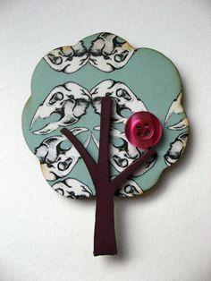 Beautiful skull patterned laser cut tree brooch by MicaPeet, £10.00
