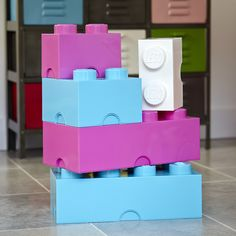 Giant LEGO Storage Blocks   Unisex Playroom Bundle At STORE. Boxed Set Of  Giant Stackable LEGO Storage Bricks In Pink, Azure And White To Save You S.