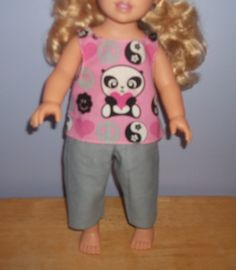 American 18 Inch Doll clothes pink Panda Top and gray capri by sue18inchdollclothes on Etsy