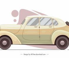 Ikon Model Mobil Klasik Berwarna Sketsa Datar Di 2021 Vektor Gratis Ikon Sketsa