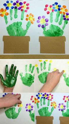Cute Handprint and Footprint Crafts - Princess Pinky GirlUse thumbs to make a flower canvas thing.Cute handprint crafts for kids! This makes a great gift for Mother's Day!Handprint and footprint crafts are SO adorable! I think that we can all agree that a Daycare Crafts, Baby Crafts, Crafts To Do, Arts And Crafts, Infant Crafts, Wood Crafts, Preschool Crafts, Craft Projects, Crafts For Kids